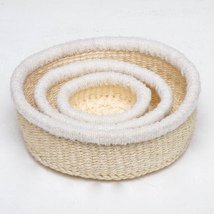 Set of three storage baskets made of Sisal