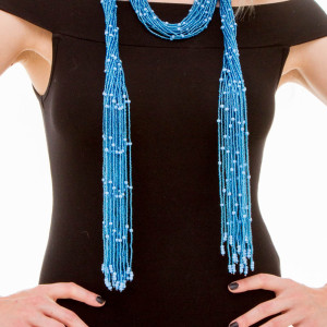Blue Scarf Necklace made of Beads in Mali