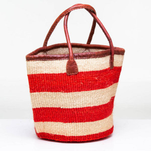 Red stripe Sisal basket by Obatala