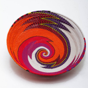 Large telephone wire basket with Orange Spiral pattern