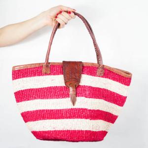 Red stries beach bag / basket