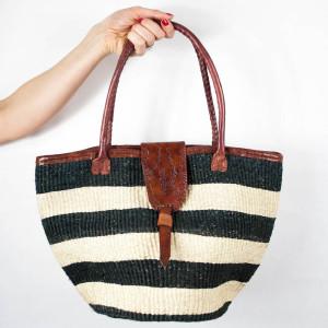 Black stripes beach bag