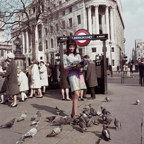 Drum Cover Girl Marie Hallowi at Charing Cross Station London 1966. Courtesy of Autograph ABP