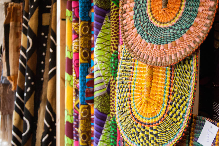 Display in the African fabric shop