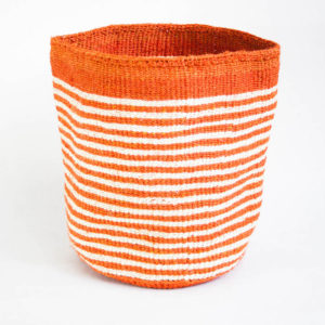 Handwoven basket with small Orange & white stripes