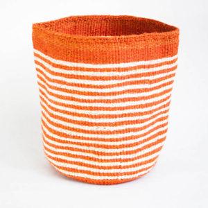 Handwoven basket with small Orange & white stripes
