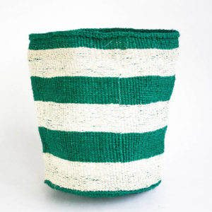 Dahara basket green and white stripes