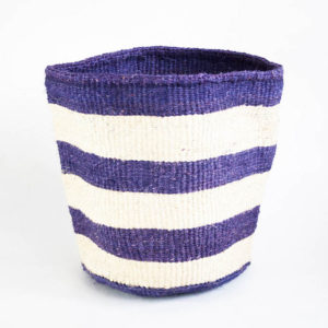 Storage basket with purple & white stripes