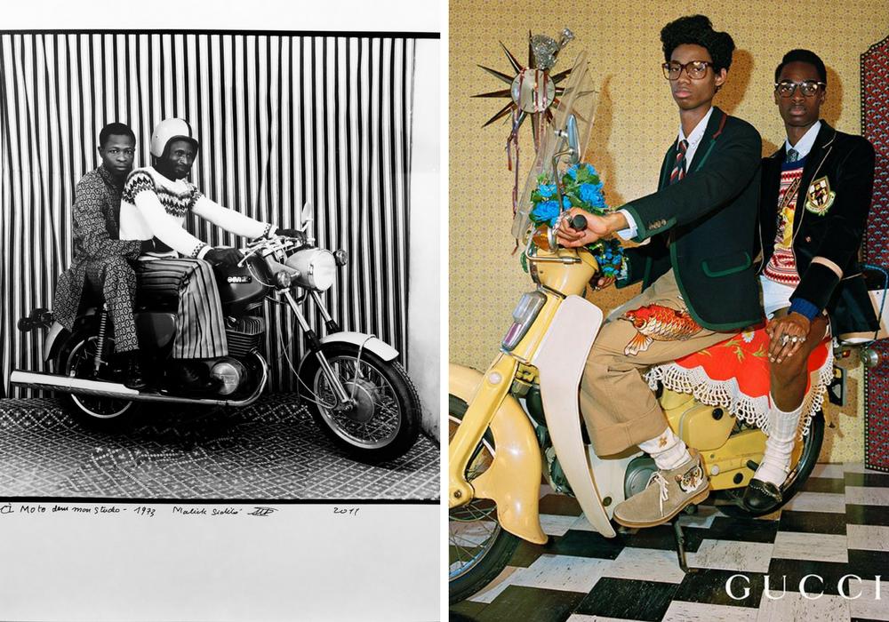 Left: CL Moto Dans mon Studio, Malcik Sidibe, 1973 Right: Gucci Campaign