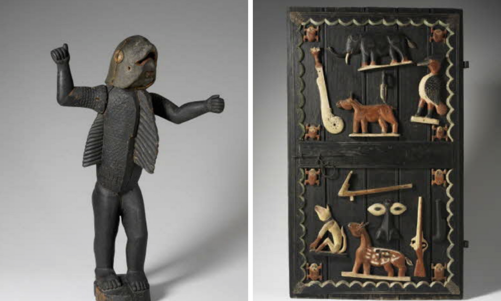 Left: anthropomorphic Statue of Behanzin, Door of Abomey royal Palace, Both held at musee du quai Branly Jacques Chirac. Pic by Screenshot