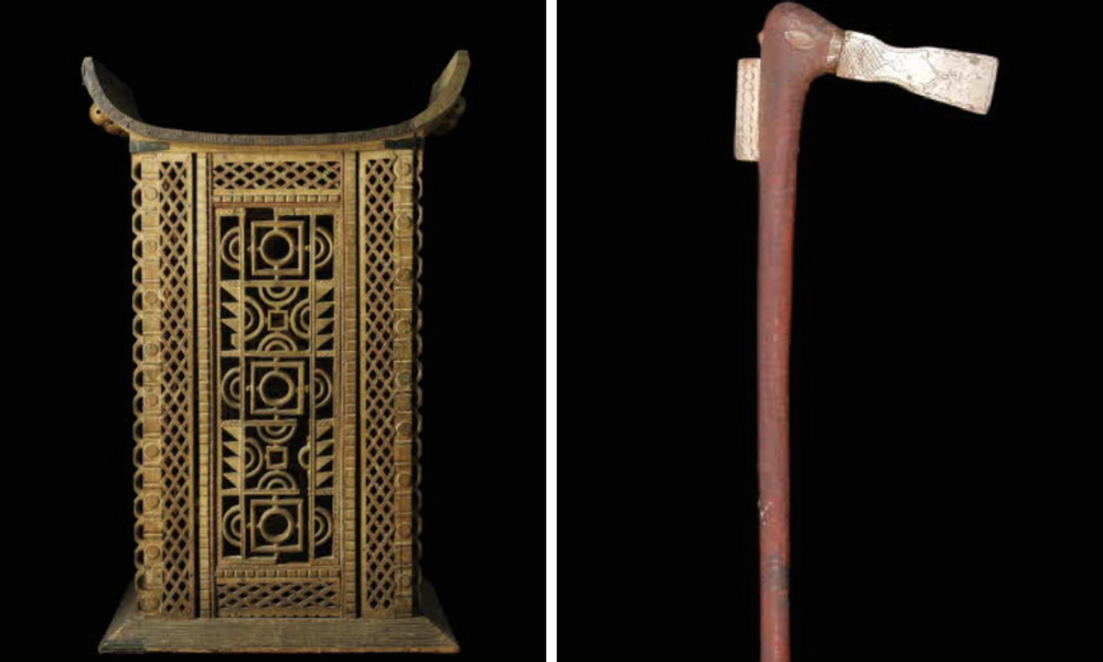 Left: Throne. Right Recade. Screenshot of items donated by General Dodds. Source musee du quai Branly Jacques Chirac