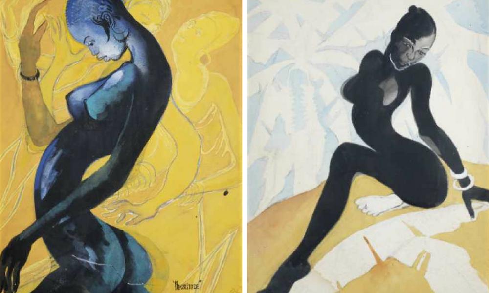 Left: Negritude. Right: Female forms, Ben Ewonwu.