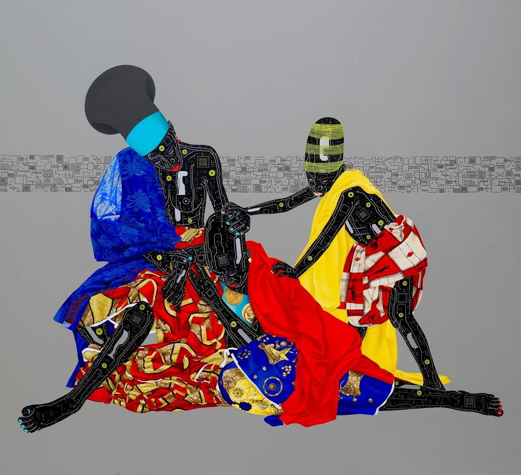 Painting Oubliez le passé et vous perdez les deux yeux, Eddy Kamuanga Ilunga, 2016