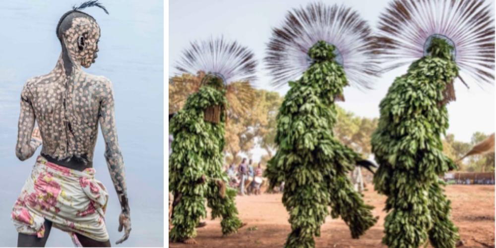 Left: Kara Man Painted for Courtship, Ethiopia / Right: Harvest Leaf Masks, Burkina Faso