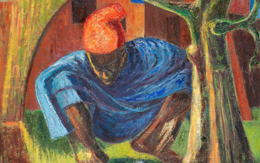 Detail Seated man in red cap, Jimoh Akolo, 94. Modern and Contemporary African Art Auction Bonhams