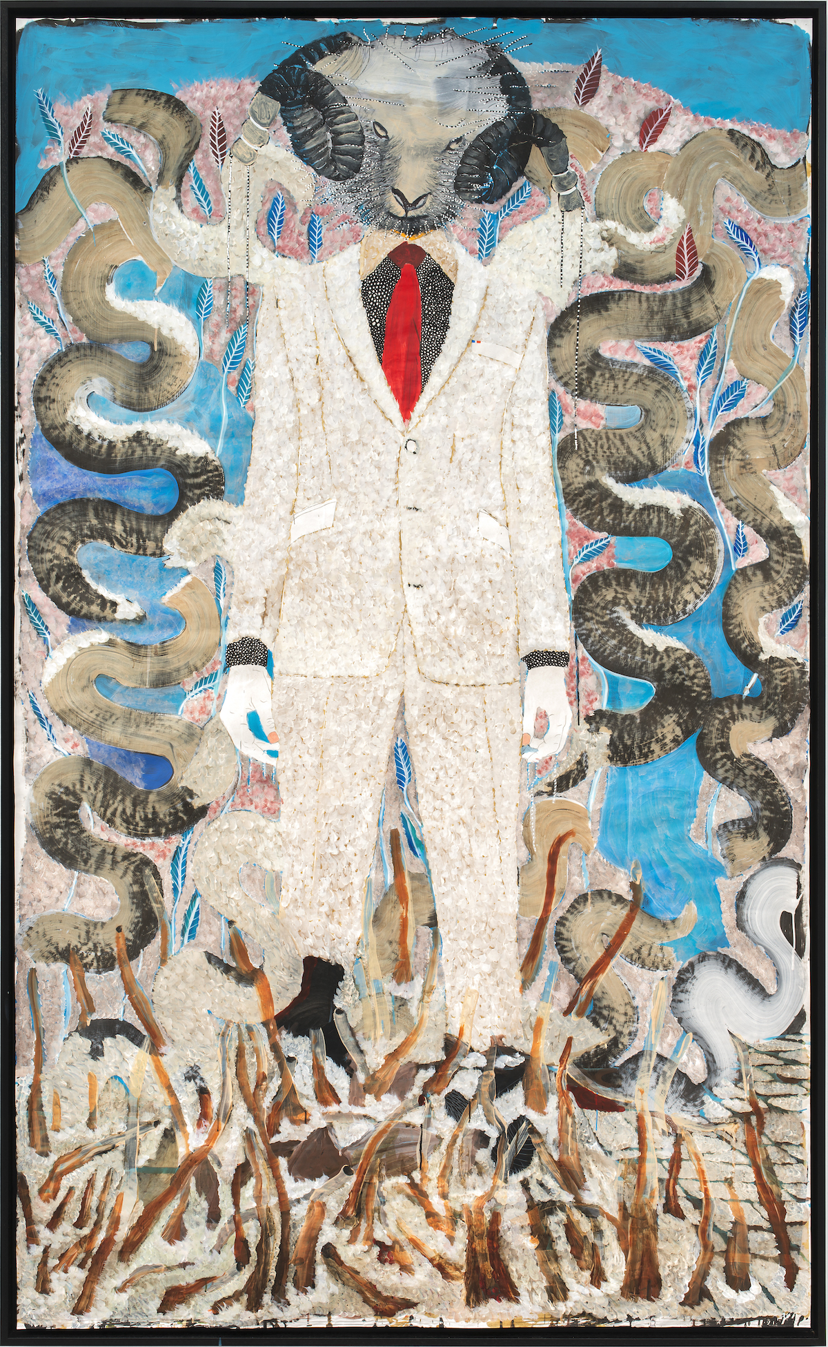 Omar Ba, Man and Superman I, 2021, Acrylic, pencil, oil, Indian ink and Bic pen on cardboard, 250 x 150 cm -98 3/7 x 59 1/16 in