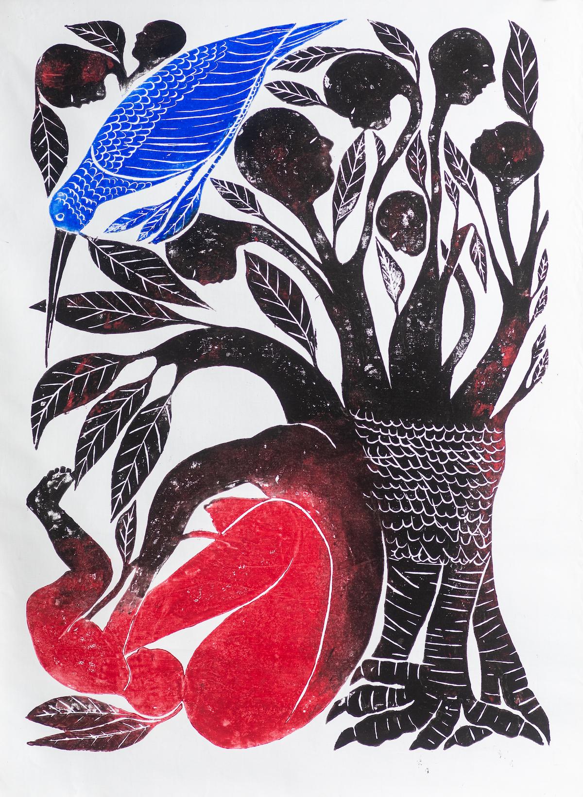 Le chant du colibri, Jems Koko Bi, 2020. Courtesy The artist & Gallery Cecile Fakhoury